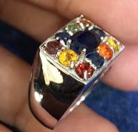 Jual Cincin Perak Batu Permata Kombinasi