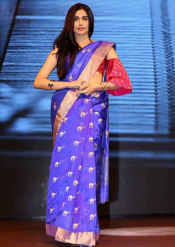 Adah Sharma In Blue Saree At Woven 2017 Fashion Show