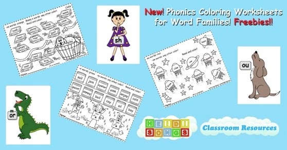 Phonics Coloring Worksheets For Word Families Freebies