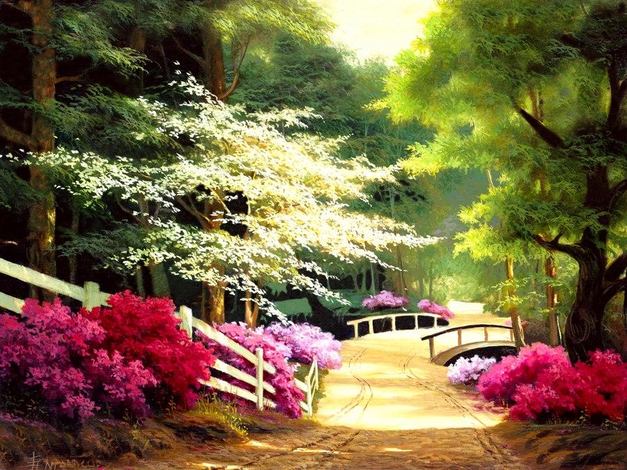 Cuadros modernos pinturas y dibujos paisajes floridos - Oleos de jardines ...