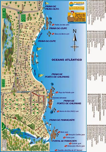 Mapa da vila de Porto de Galinhas