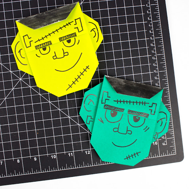 Easy Origami Frankenstein Monster Faces for Halloween Kids Craft