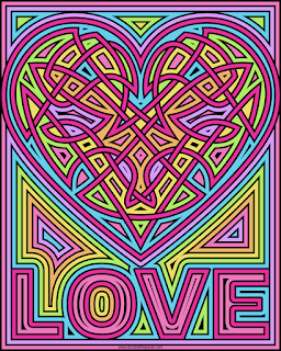 Heart love coloring page, blank available