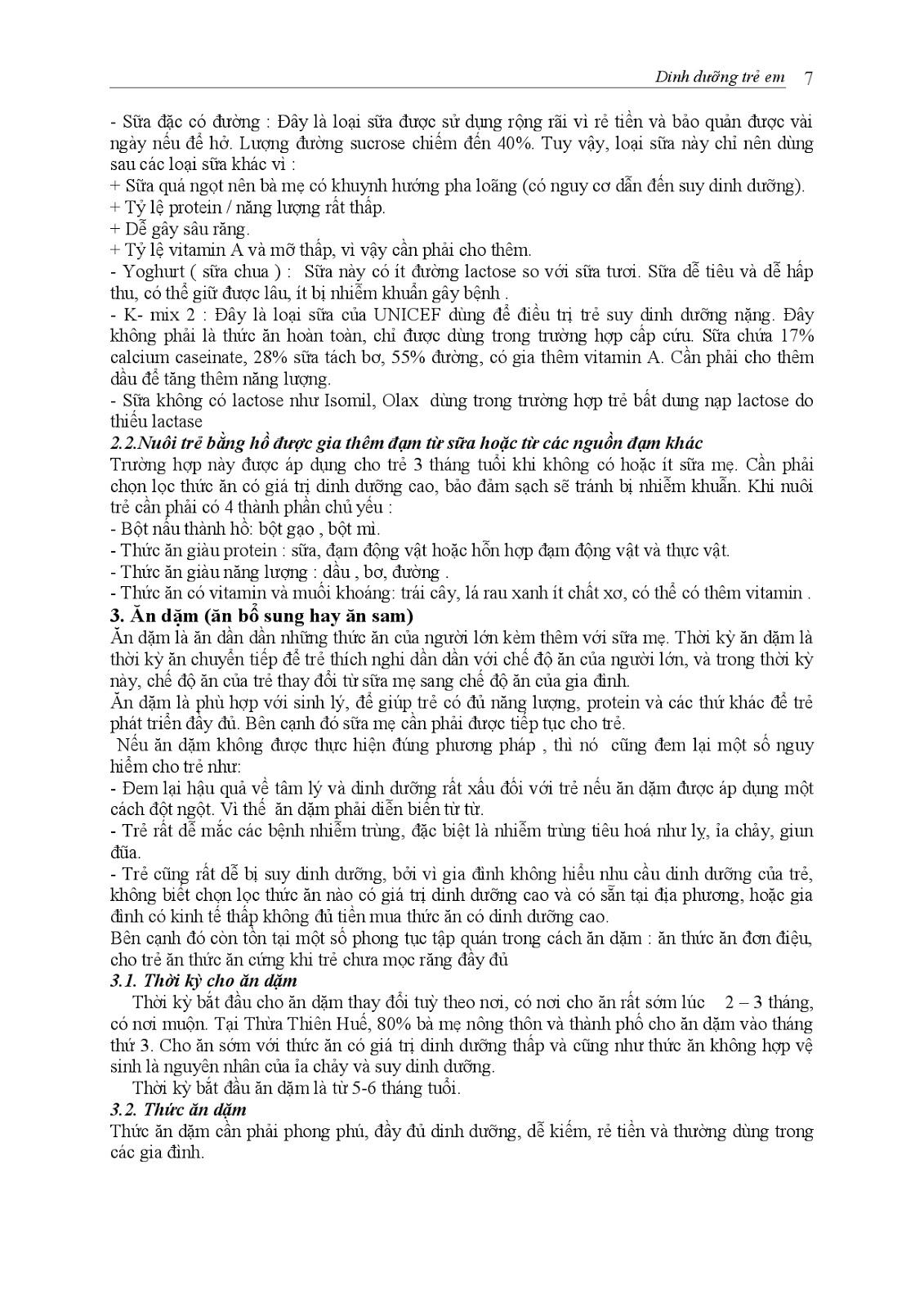 Trang 7 sach Bài giảng Nhi khoa I (Nhi khoa cơ sở - Nhi dinh dưỡng) - ĐH Y Huế