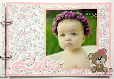 livro de mensagens álbum de memórias assinatura aniversário 1 aninho festa personalizada jardim encantado ursinha floral rosa bebê menina fotos scrap scrapbook scrapbooking
