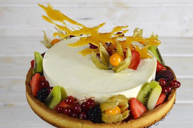 Tarta de mousse de chocolate blanco con frutas exóticas - Yolanda Pincholos Cooking