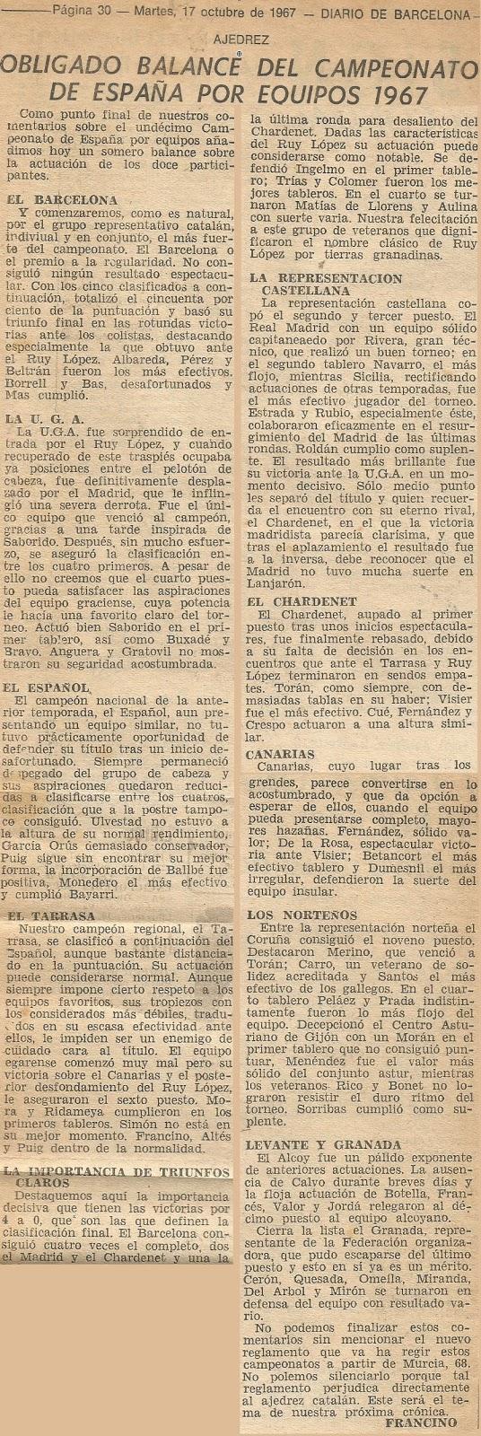 IX Campeonato de España de Ajedrez por Equipos, nota de prensa en Diario de Barcelona