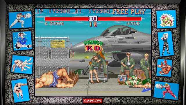 Street Fighter 30th Anniversary Collection - Street Fighter II' Hyper Fighting - Guile Stage - E.Honda VS Guile - Double K.O.