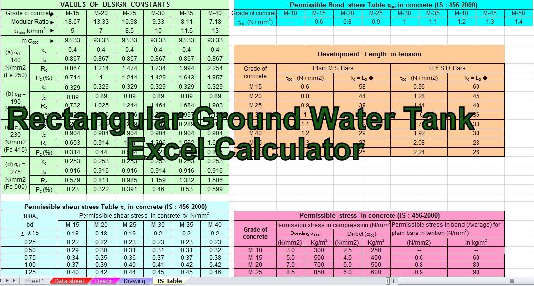 www pdfstall online: Rectangular Ground Water Tank Excel