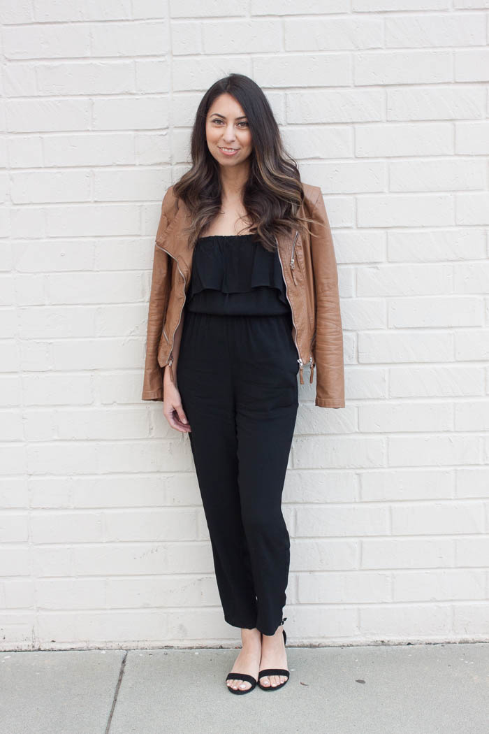 faux leather jacket, ruffle black jumpsuit