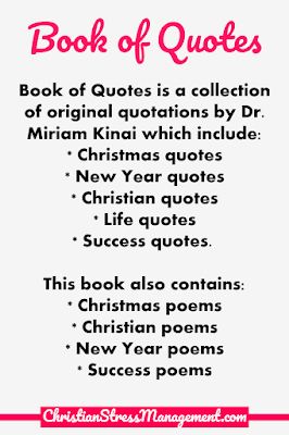 Book of Quotes is a collection of original quotations by Dr. Miriam Kinai which include Christmas quotes, New Year quotes, Christian quotes, life quotes and success quotes. This book of quotations also doubles as a book of poems because it also contains Christmas poems, Christian poems, New Year poems, success poems and blessings from the Bible.