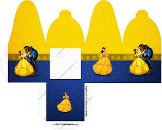 Caja para cupcakes, chocoltes o golosinas de Fiesta de La Bella y la Bestia.