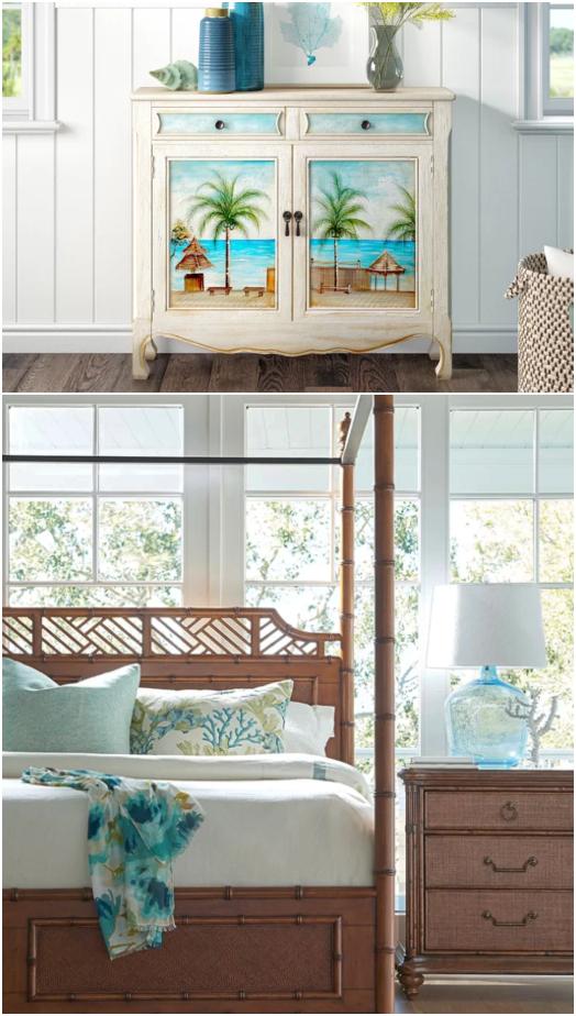 Tropical Island Breezy Palm Style Coastal Furniture Home Decor