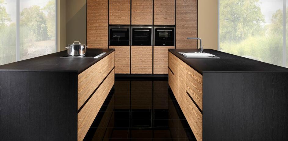 La madera en la cocina de vanguardia cocinas con estilo for Encimera negra brillo