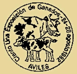 Matasellos certamen ganadería Avilés, 1982