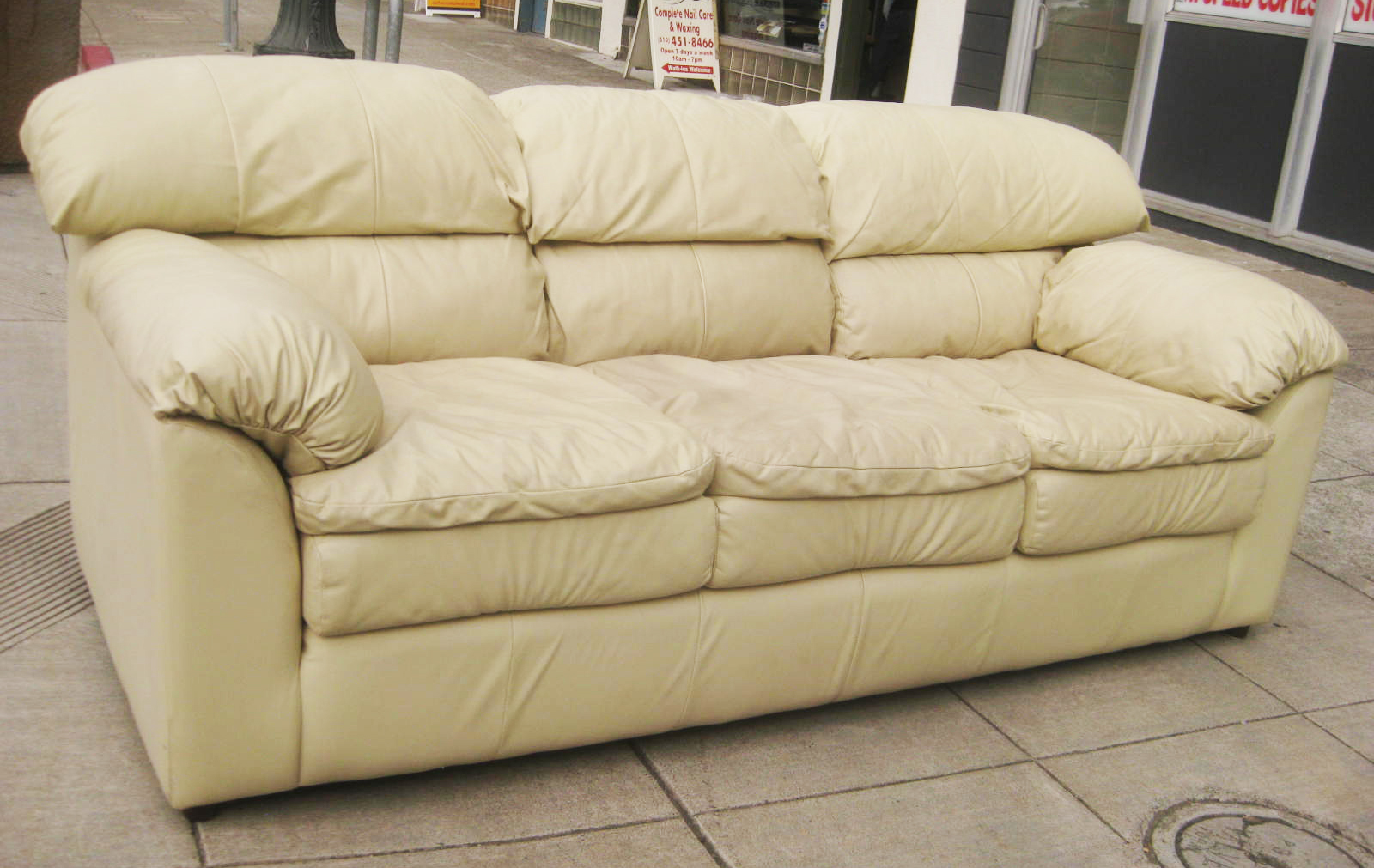 UHURU FURNITURE & COLLECTIBLES: SOLD - Beige Leather Sofa ...