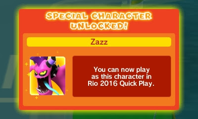 Zazz character unlocked Mario & Sonic at the Rio 2016 Olympic Games 3DS