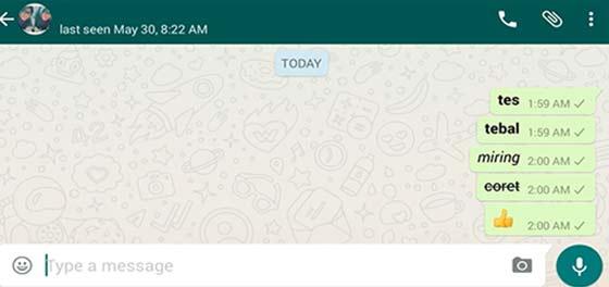 Cara Membuat Teks/tulisan Tebal Miring Tercoret di Whatsapp