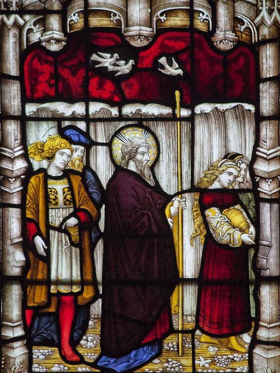 Moisés conduz o  povo eleito para fora do jugo dos egípcios, vitral da igreja paroquial de Henley-on-Thames, Inglaterra