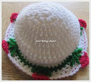 free crochet baby cap flower pattern