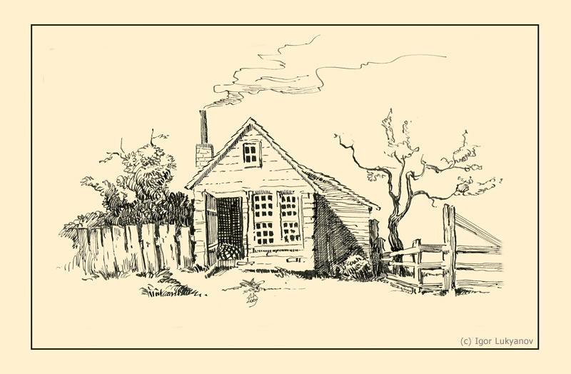 Village Hut Drawing