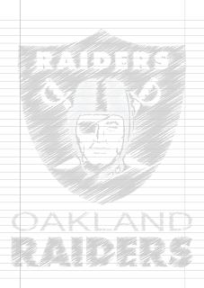 Folha Papel Pautado Oakland Raiders rabiscado PDF para imprimir na folha A4