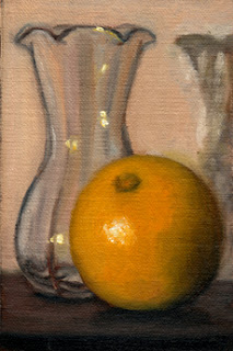 Oil painting of a tulip-shaped glass vase beside a large round lemon.