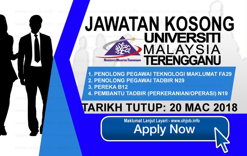 Jawatan Kerja Kosong UMT - Universiti Malaysia Terengganu logo www.ohjob.info mac 2018