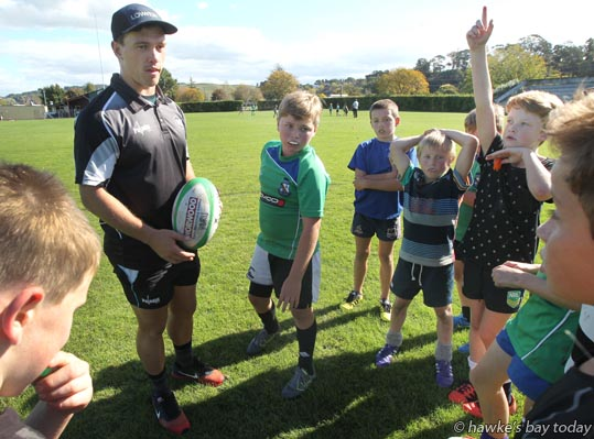 Ellery Wilson - Hawke's Bay Magpies run a school holiday event for up and coming rugby players at Park Island, Napier. photograph