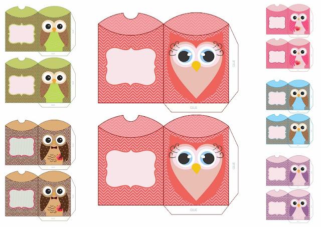 Cajas Almohada con Búhos para Imprimir Gratis.