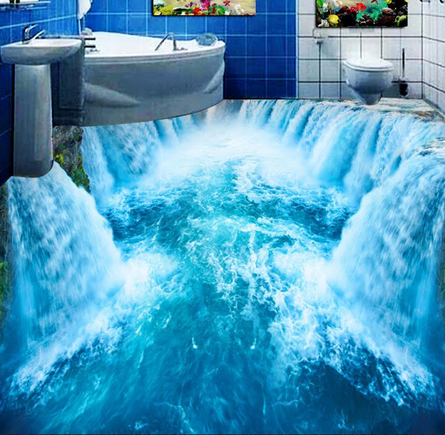 waterfall falling in the river 3d vinyl flooring for bathroom designs