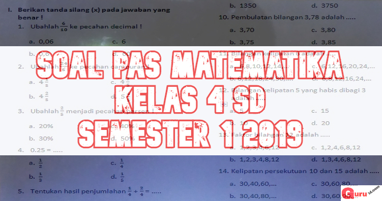 gambar SOAL pas matematika kelas 4 2019