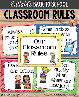 Editable back to school themed Classroom Rule Posters - printable