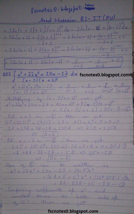 FSc ICS Notes Math Part 2 Chapter 3 Integration Exercise 3.5 question 12 - 22 by Asad Hussain 4