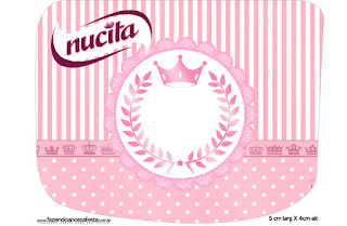 Etiqueta Nucita de Corona Rosada para imprimir gratis.
