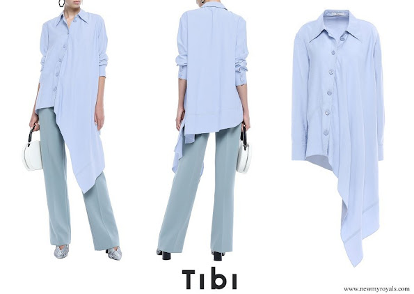 Queen Rania wore TIBI Asymmetric chambray shirt