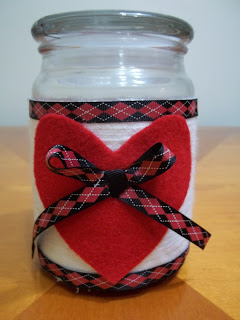 Decorated Valentine Jar Candle