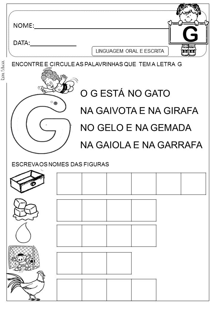 Well-known Espaço Saber: Atividades letra G MB61