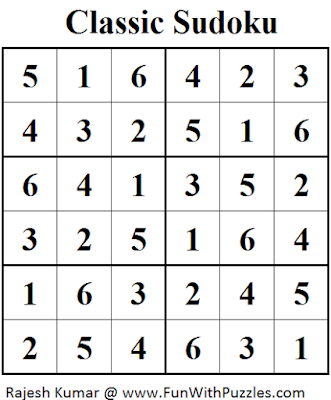 Classic Sudoku (Mini Sudoku Series #40) Solution