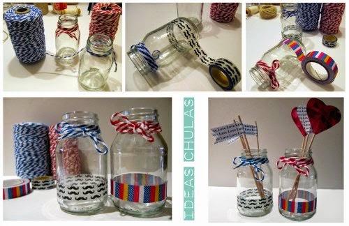 Botes de cristal decorados con washi tape y baker's twine