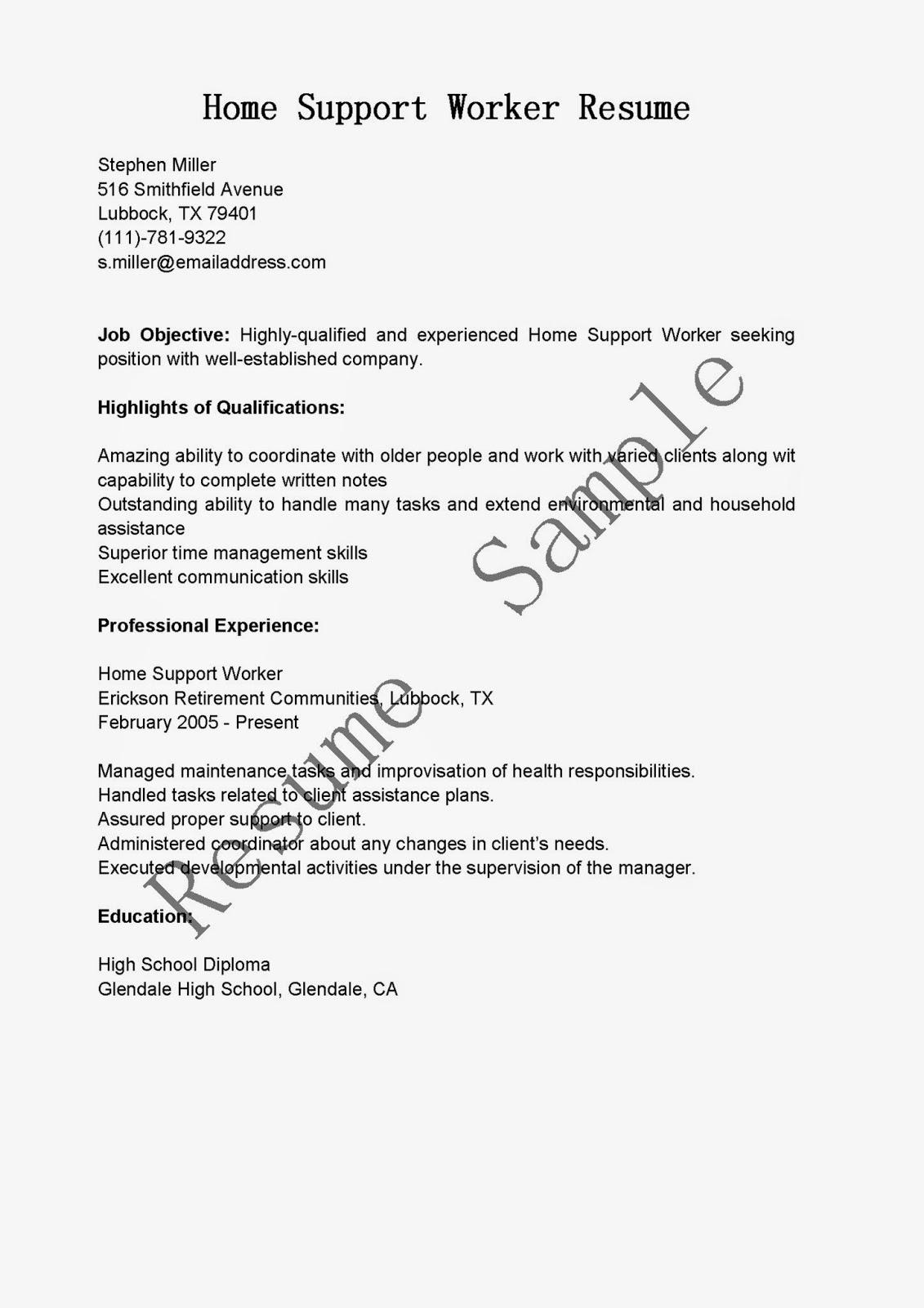 Resume Samples Home Support Worker Resume Sample