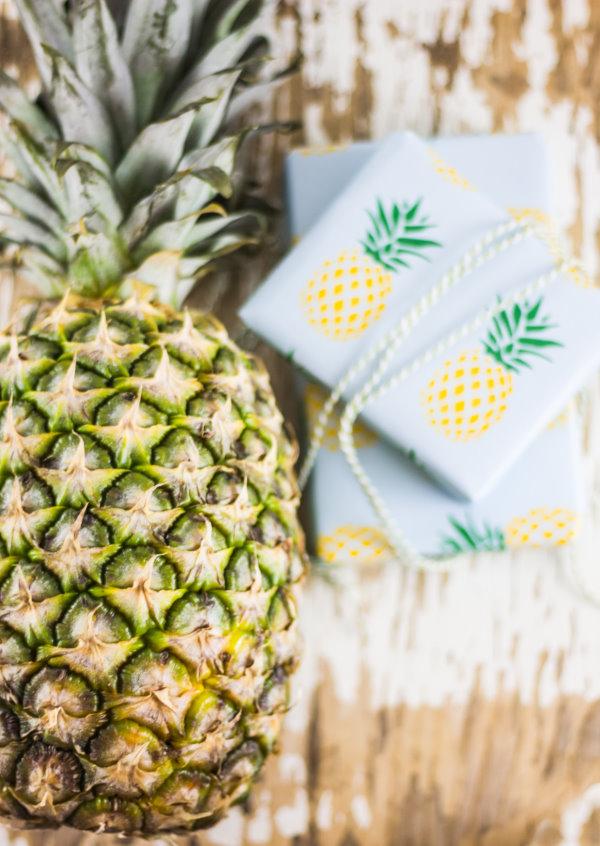 Ananas Geschenkpapier zum Ausdrucken
