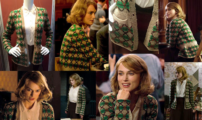 The Imitation Game Costumes - Joan Clarke Green & Brown code breaker Cardigan