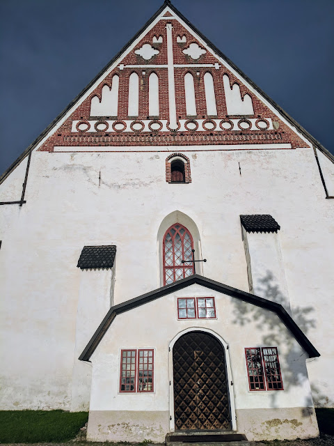 Close up of the facade of Porvoo Cathedral on a Southern Finland road trip