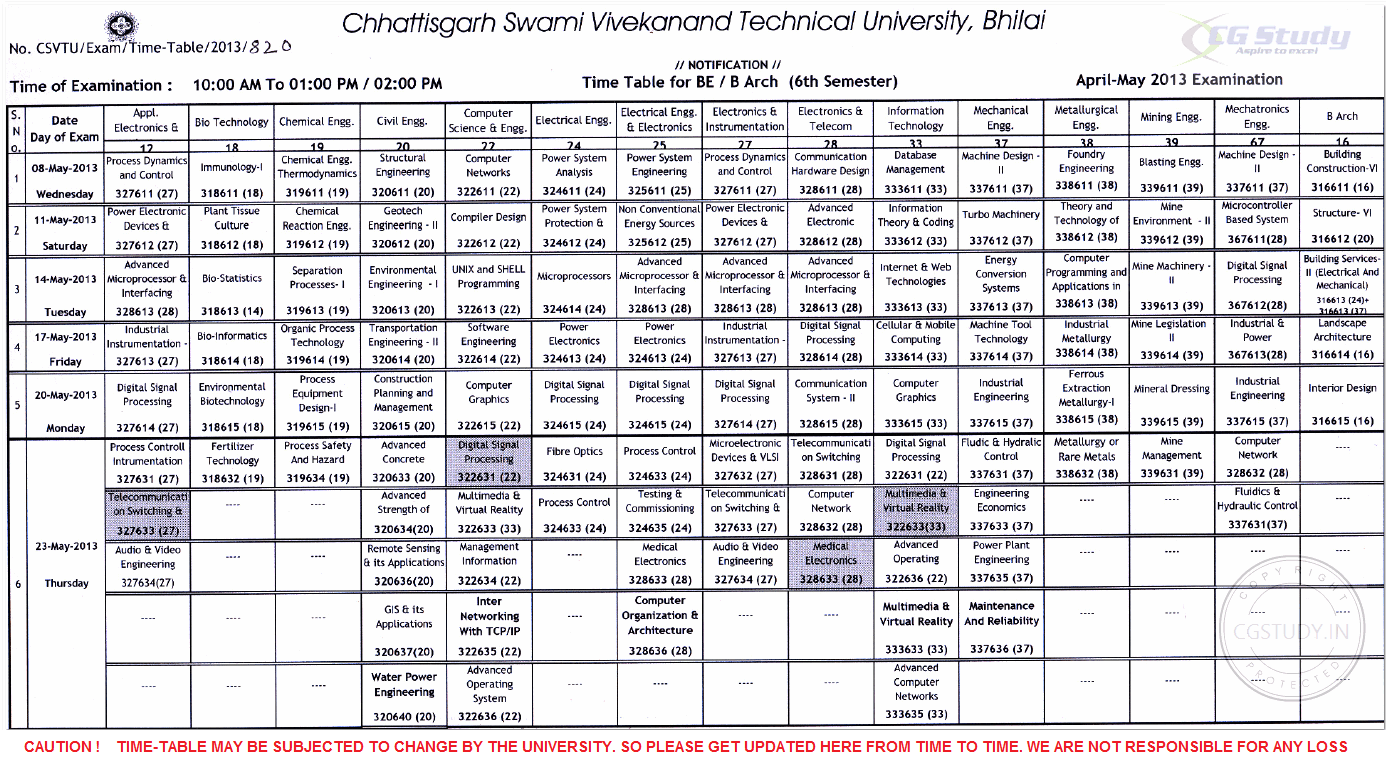 CSVTU BE 6th SEM TIME TABLE