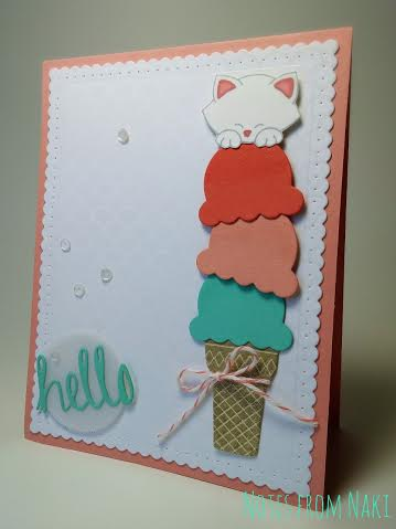 Ice Cream Cat card for Inky Paws Challenge | Newton's Antics Cat stamp set by Newton's Nook Designs