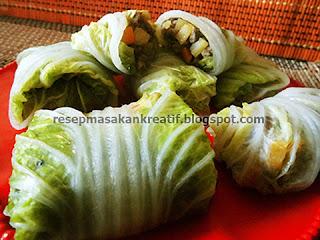 Resep masakan sayur sawi putih merupakan sajian sayuran sehat yang enak dan dapat diolah den RESEP SAWI PUTIH GULUNG ENAK ISI DAGING