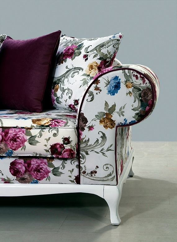 8 Sofa Legs Torino Power Reclining Modern Flower Pattern - Home Decor