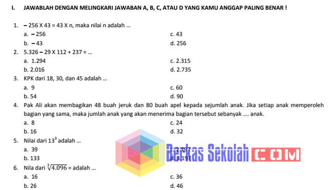 Bank Soal Matematika SD Kelas 6 Kurikulum 2013