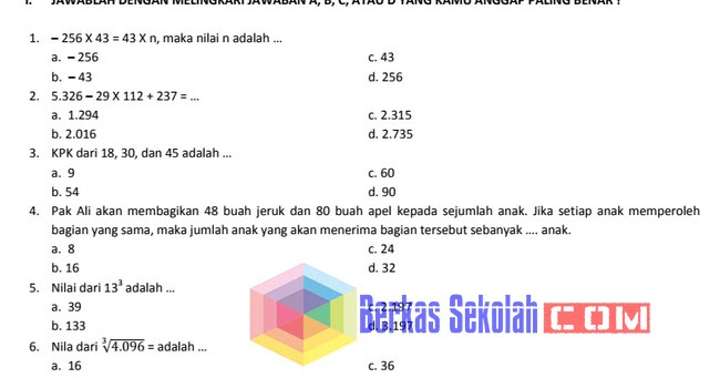 Bank Soal Matematika SD Kelas 6 Kurikulum 2013 Lengkap dengan Kunci Jawaban  Berkas Sekolah